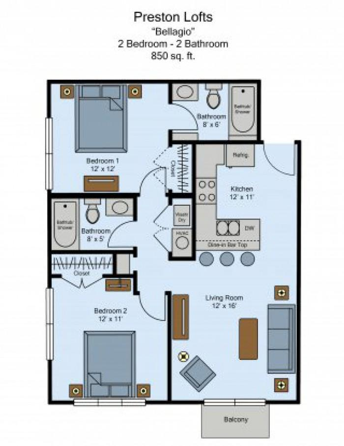 Preston Lofts 2-Bed 2-Bath